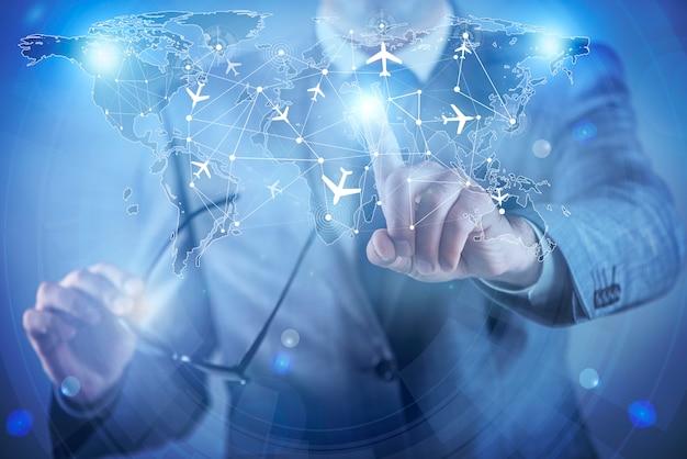 Homme d'affaires dans le concept de transport mondial Photo Premium