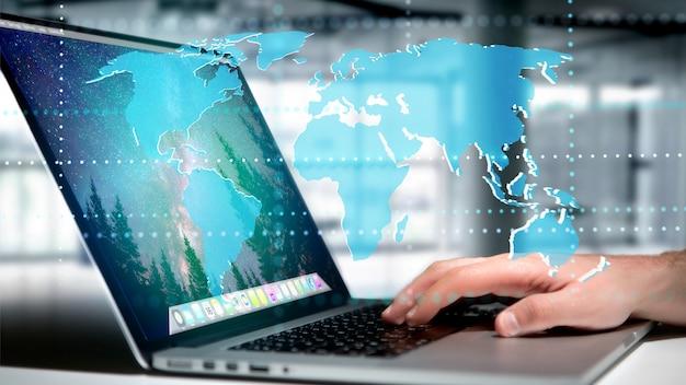 Homme d'affaires détenant une carte du monde connecté sur une interface futuriste Photo Premium