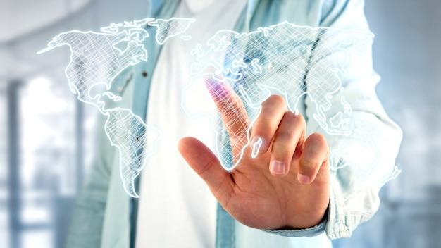 Homme d'affaires détenant une carte du monde dessinée à la main sur une interface futuriste Photo Premium