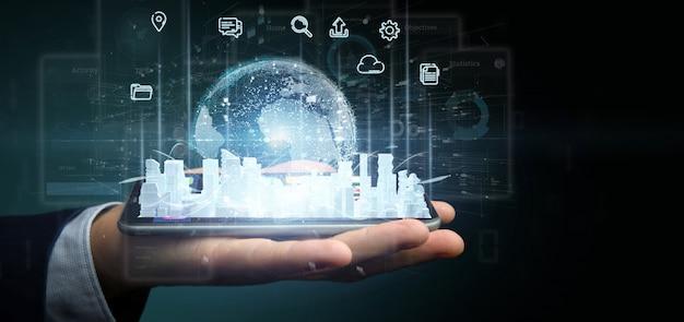 Homme d'affaires détenant une interface utilisateur smart city avec icône, statistiques et données, rendu 3d Photo Premium