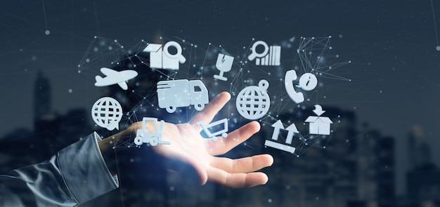 Homme d'affaires détenant une organisation logistique avec icône et connexion Photo Premium