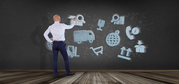 Homme d'affaires devant une organisation logistique avec rendu 3d d'icône et de connexion Photo Premium