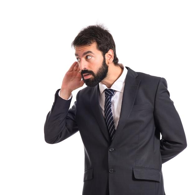 Homme d'affaires, écoute, isolé, blanc, fond Photo gratuit