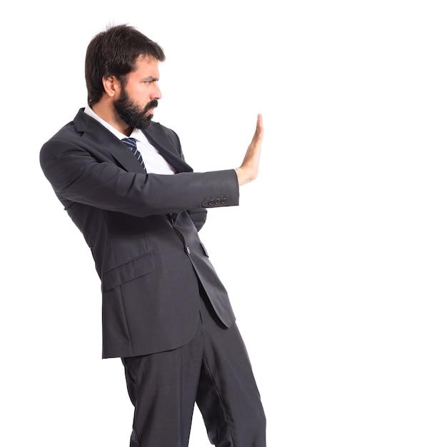 Homme affaires, faire, arrêt, signe, blanc, fond Photo gratuit