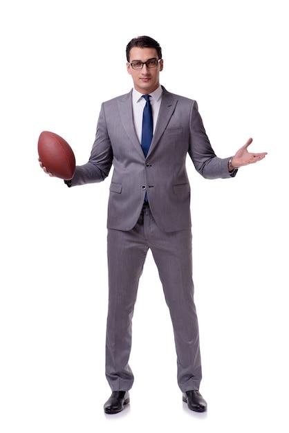 Homme d'affaires avec le football américain isolé sur blanc Photo Premium