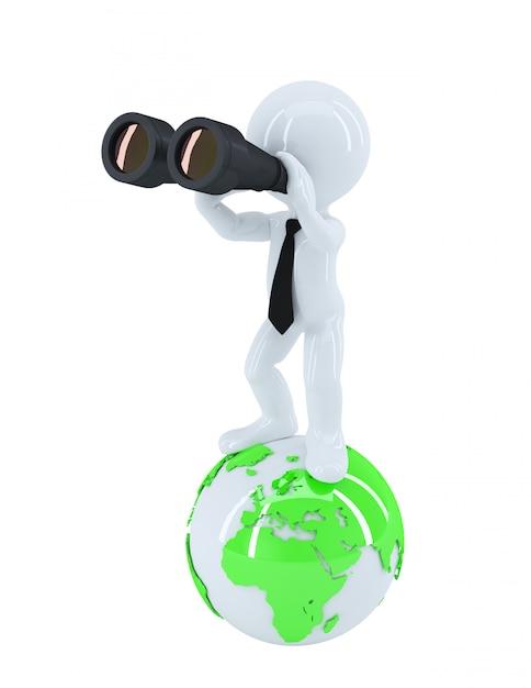 Homme Affaires, Jumelles, Debout, Sommet, Globe Photo Premium