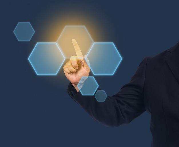 Homme d'affaires, point, lumière, bouton, écran Photo Premium