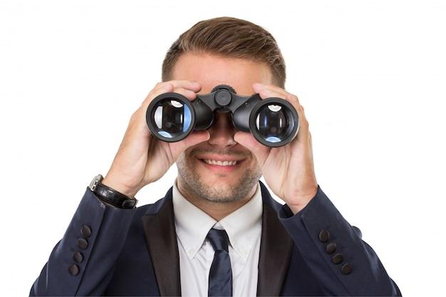 Homme Affaires, Sourire, Quoique, Utilisation, Jumelles Photo Premium