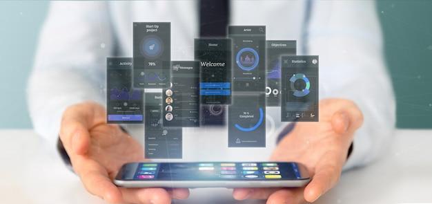 Homme D'affaires Tenant Des écrans D'interface Utilisateur Avec Icône, Statistiques Et Données, Rendu 3d Photo Premium