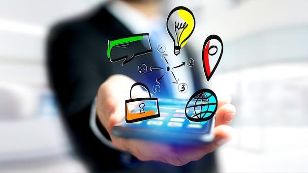 Homme d'affaires tenant une icône dessiné à la main des affaires, multimédia et technologie Photo Premium