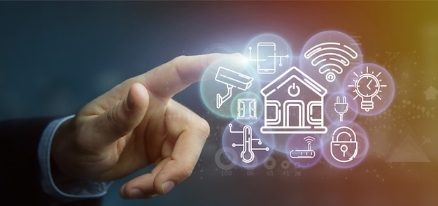 Homme d'affaires tenant une interface maison intelligente avec l'icône, les statistiques et les données, rendu 3d Photo Premium