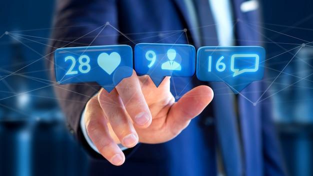 Homme affaires, tenue, aimer, adepte, notification, message, réseau social, -, rendu 3d Photo Premium