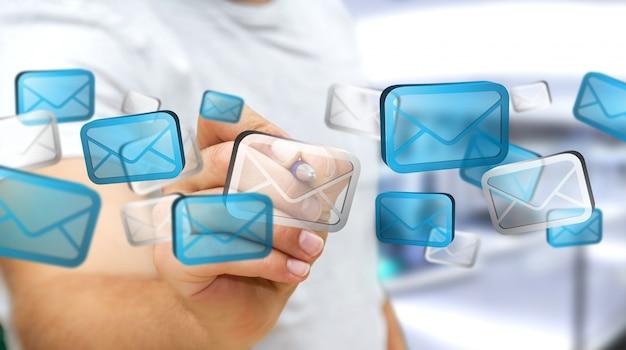 Homme d'affaires touchant le courrier électronique numérique Photo Premium