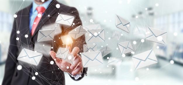Homme d'affaires touchant l'icône d'email volante rendu rendu 3d avec son doigt Photo Premium