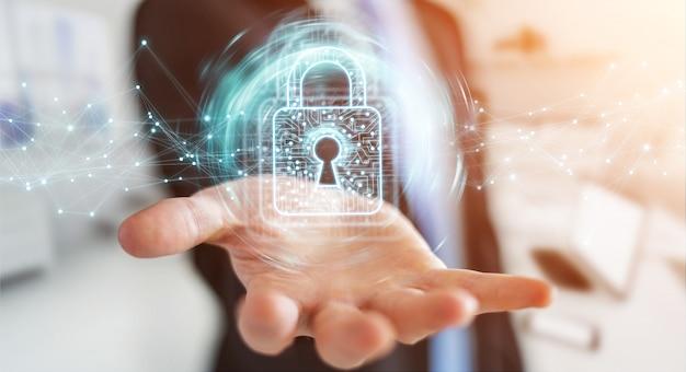 Homme d'affaires utilisant un cadenas numérique avec protection des données Photo Premium