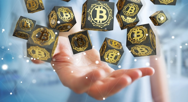 Homme d'affaires utilisant la crypto-monnaie bitcoins Photo Premium