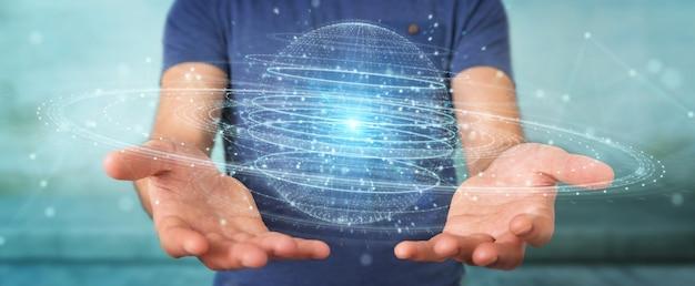 Homme d'affaires utilisant un hologramme de connexion de sphère numérique Photo Premium
