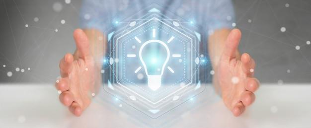 Homme d'affaires utilisant l'interface d'idée ampoule rendu 3d Photo Premium