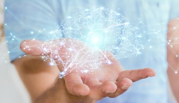 Homme d'affaires utilisant le rendu 3d d'interface de cerveau humain de rayons x numérique Photo Premium