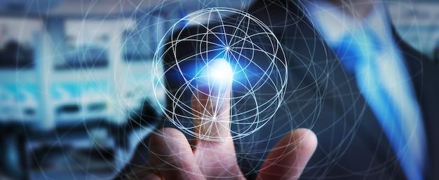 Homme d'affaires utilisant le réseau de données Photo Premium
