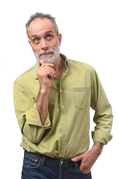 Homme ayant un doute ou une question sur fond blanc Photo Premium