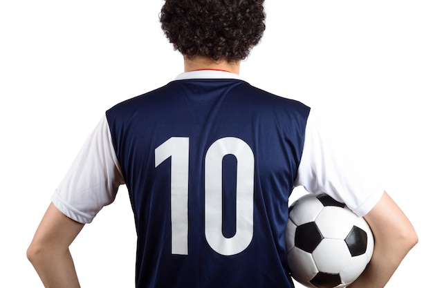 Homme avec ballon de foot Photo Premium