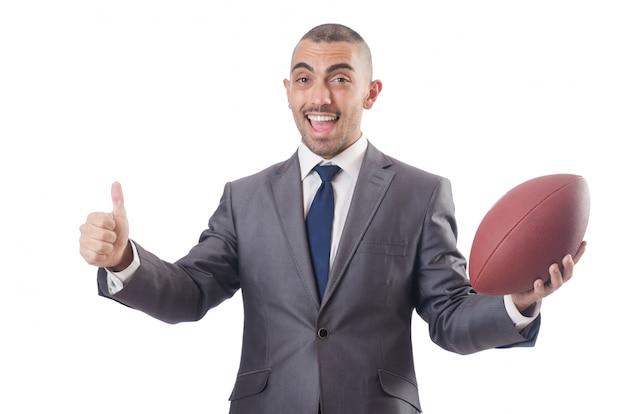 Homme avec ballon de football américain isolé sur blanc Photo Premium