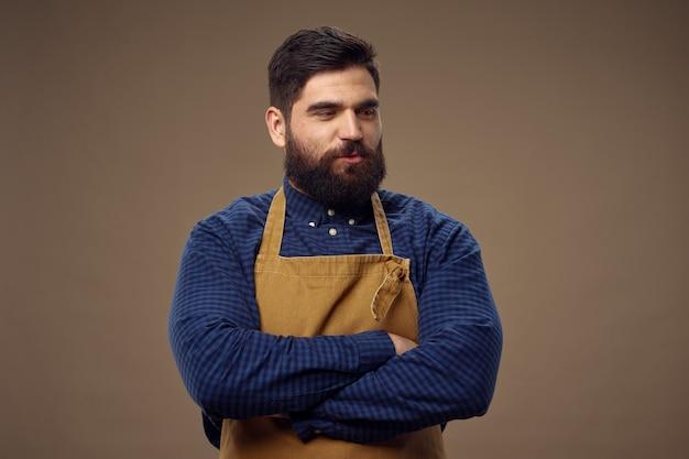 Homme Barbu, Travail Professionnel De Coiffeur Photo Premium