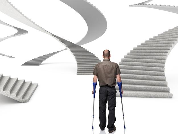 Homme avec des béquilles devant une série d'escaliers 3d Photo Premium