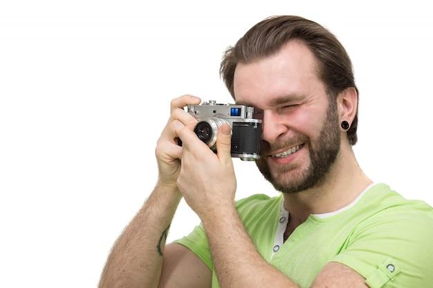 Homme avec une caméra Photo Premium