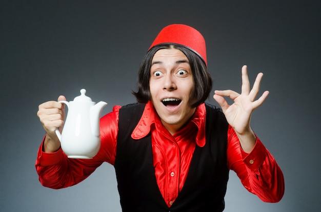 Homme, chapeau rouge, fez Photo Premium
