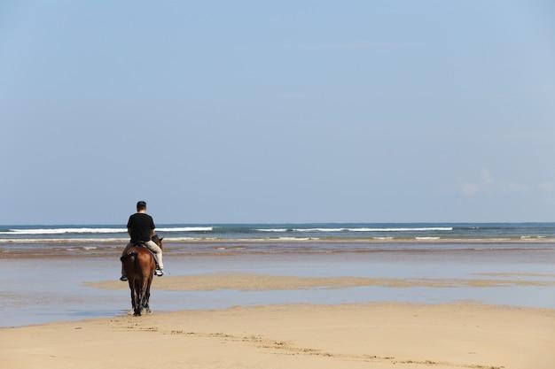 Homme à cheval sur la plage Photo Premium