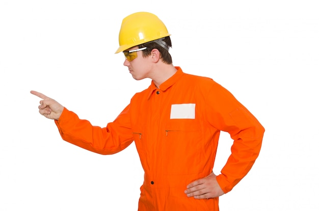 Homme En Combinaison Orange Isolé Sur Blanc Photo Premium
