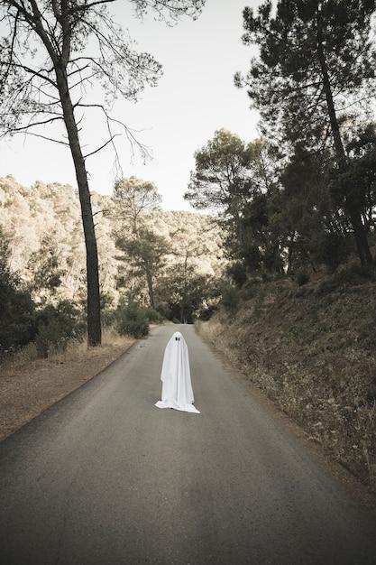 Homme en costume fantôme debout sur une route de campagne Photo gratuit