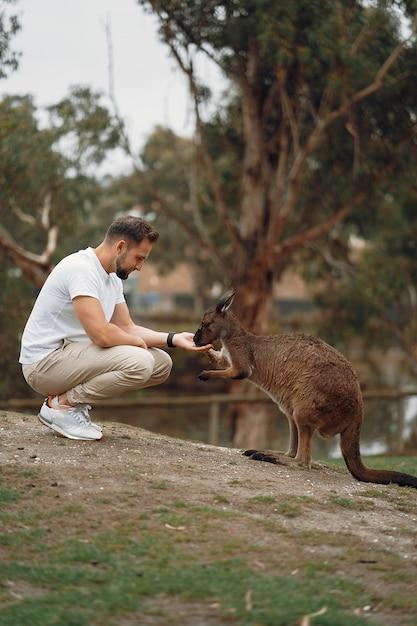 L'homme Dans La Réserve Joue Avec Un Kangourou Photo gratuit