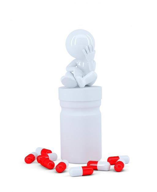 Homme Déprimé Assis Sur Le Dessus Du Coffre à Pilule Photo gratuit