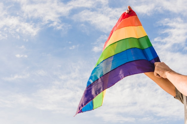 Homme avec grand drapeau aux couleurs lgbt et ciel bleu Photo gratuit