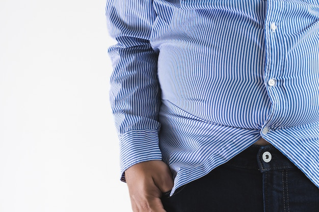 Homme avec gros ventre gros ventre potelé Photo Premium