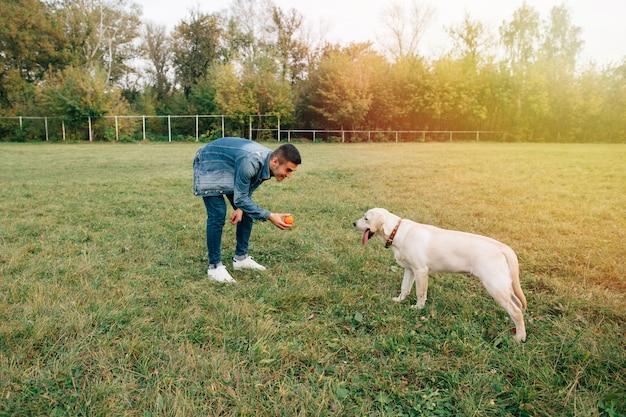 Homme jouant avec son chien labrador dans la balle dans le parc Photo gratuit