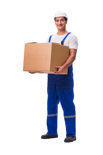 Homme livrant une boîte isolé sur blanc Photo Premium