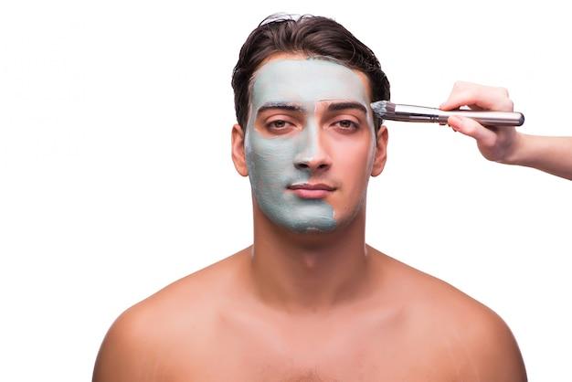 Homme avec masque appliqué sur blanc Photo Premium