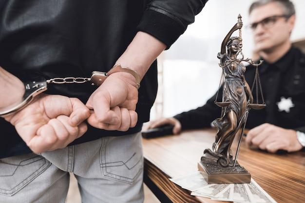 Un homme menottes aux poignets se tient devant un policier. Photo Premium