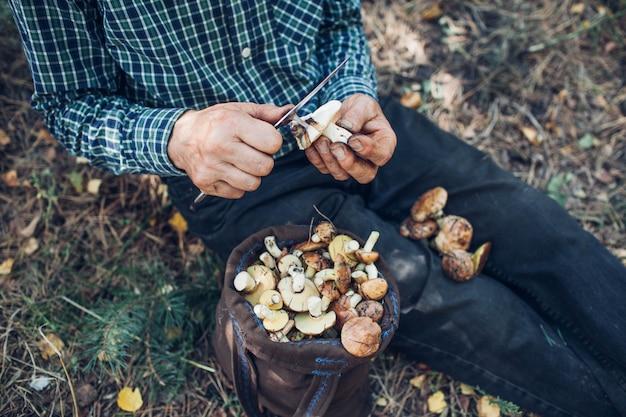L'homme nettoie les champignons gras. activité d'automne. automne Photo Premium