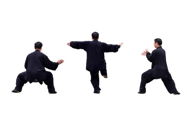 L'homme à pratiquer différents mouvements de karaté Photo gratuit