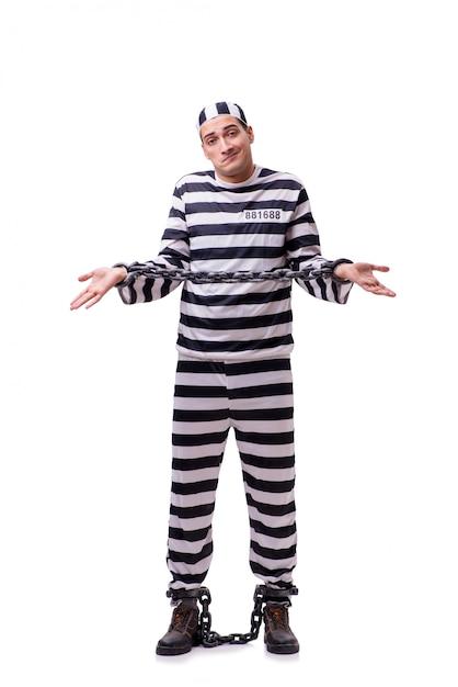 Homme prisonnier isolé sur blanc Photo Premium
