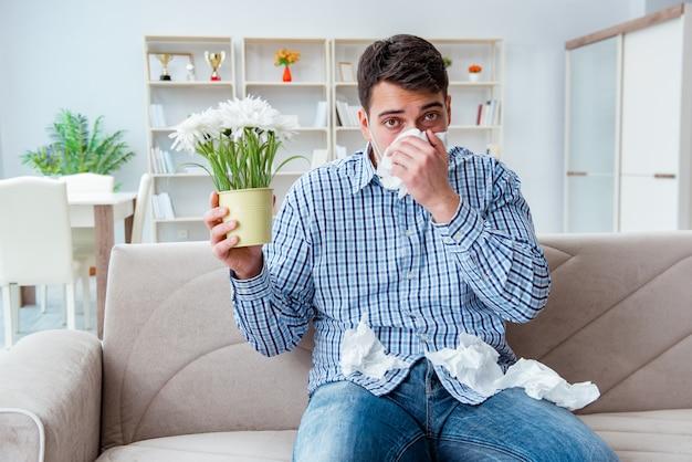 Homme souffrant d'allergie - concept médical Photo Premium