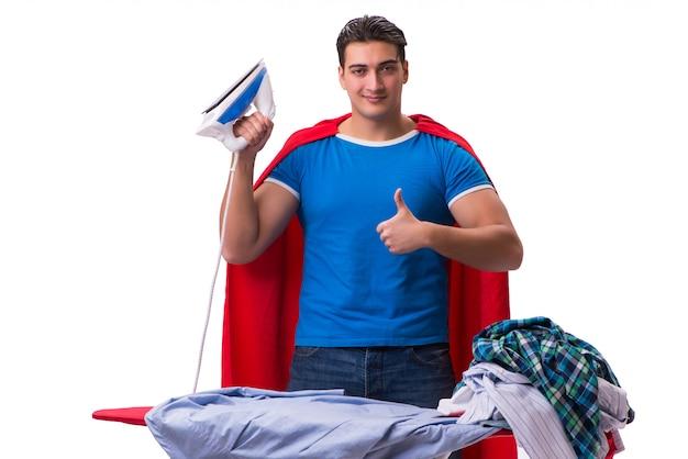 Homme de super héros mari repassage isolé sur blanc Photo Premium