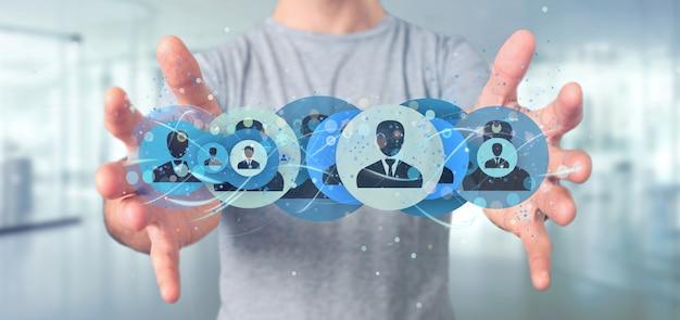 Homme tenant un concept de réseau de contact professionnel rendu 3d Photo Premium