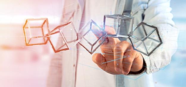 Homme tenant un cube de rendu 3d blockchain isolé sur un fond Photo Premium