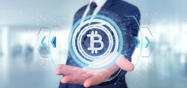 Homme tenant une icône de bitcoin de technologie sur un rendu 3d de cercle Photo Premium